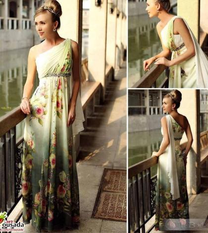 vestido florido grega